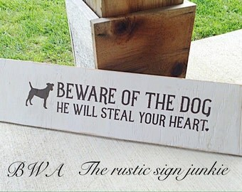 Beware of dog sign, dog sign, wood dog sign, pet signs, pet sign, pet decor, rustic dog sign
