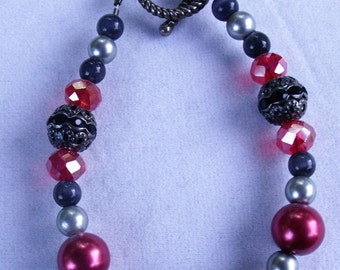 Red and Smokey Grey Toggle Bracelet