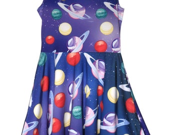 Planets Dress in the Galaxy Dress Space Outer space Universe In Stock & MTO Sz Xs-5XL