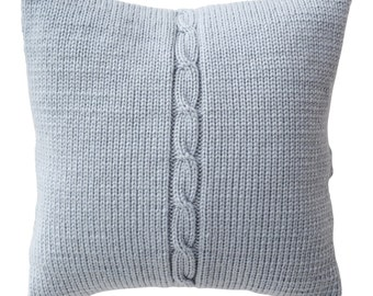 Hand Made Knitted Wool Cushion Cover - Chunky Cable - Ice Blue