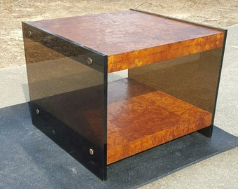 Vintage Mid Century Burl Wood & Smoked Lucite End Side Table