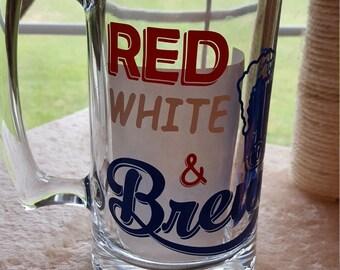 Red White & Brews Beer Mug