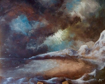 Storms and Rough Sea at the Beach - original oil painting