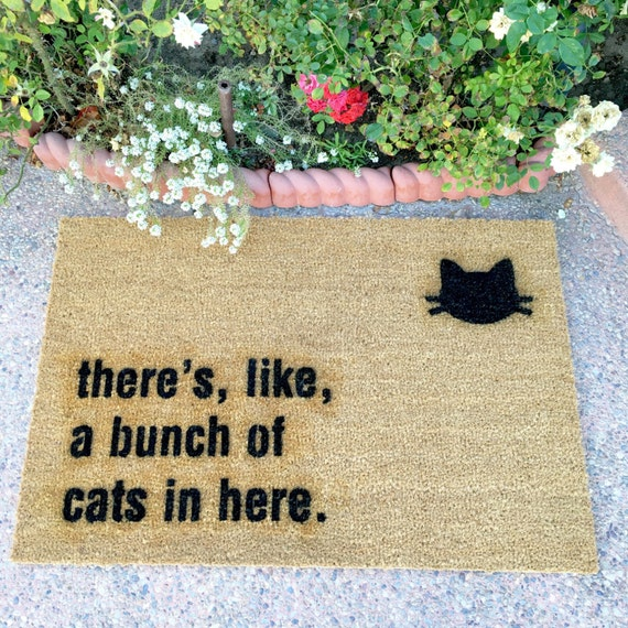"the ""bunch of cats in here"" doormat - gag gift - cat lover - funny doormats - cat lady - housewarming gift - cheeky doormat"
