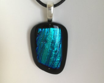Blue Shimmer Dichroic on Black Glass Pendant