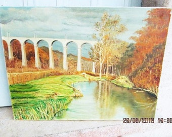 VINTAGE FRENCH OIL, country paintings, rivers, ponds, bridges, shabby chic art, 1960's art, french country, autumn colors, housewarming