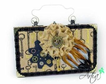 Steampunk inspired Key design box purse