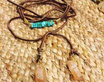 Brown and turquoise wrap necklace/bracelet can be worn 4 ways
