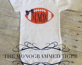 Clemson Tiger Monogrammed Football Bodysuit, orange and navy