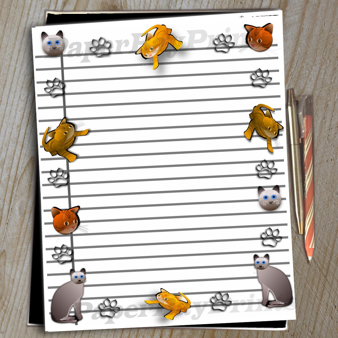Printable Cat Border Lined Paper Writing Paper Digital – Lined Border Paper