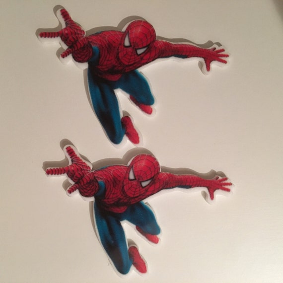 Reduced 2 Spiderman Superhero Marvel Avengers Planar Resin. Flatback cabochon bow centre embellishments shrinky dink topper Brooch Jewellery