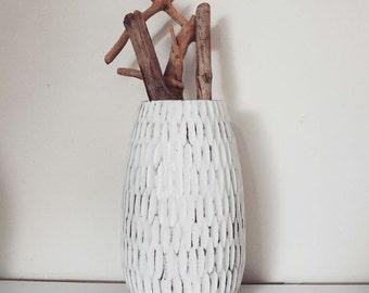 vase wood carved