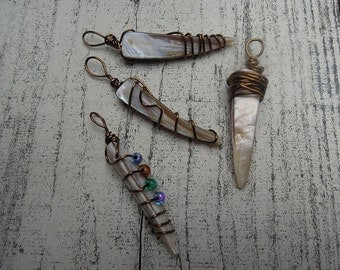 Non Tarnish Copper Wire Wrapped Oyster Shell Spike Pendants Four Styles