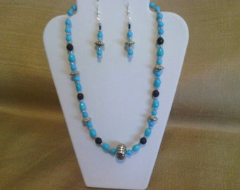 200 Victorian Style Aqua Blue Opaque Glass Beaded Choker
