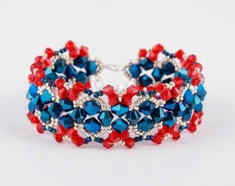 Christmas Red Blue Swarovski Bicone Beaded Bracelet ,Red Bracelet, Blue Unique Bracelet, Royal Bracelet,Silver Seed Beads Bracelet,Seller UK