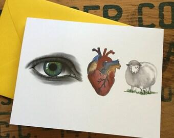 I Love You {eye heart ewe} Card - throwback to my childhood
