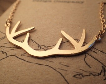 Golden Deer Antlers Necklace Chain