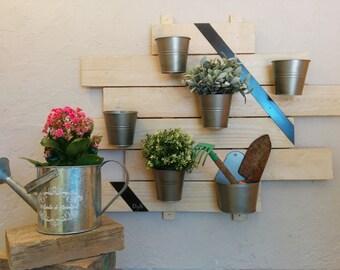 Décoration jardin,pots de fleurs,support mural jardin,étagère extérieur,bois et métal,rangement outils de jardin,cadeau,crémaillère,pots