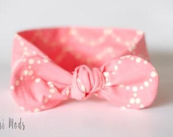 Rose Pink Top Knot Headband, Baby Headband, Knot Baby Headwrap, Rose Pink Headband, BabyTie knot Turban Headband, Baby Shower Gift