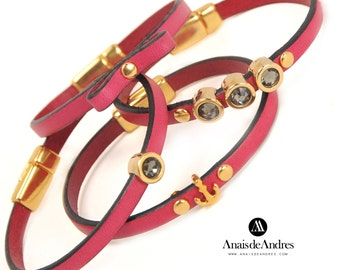 Set of four italian leather bracelets