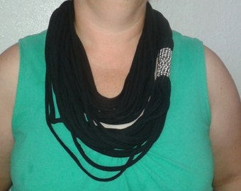 """60"""" Black Jersey infinity scarf or collar"""