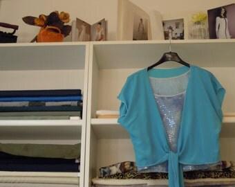 a wrap shirt-tunic-blue silk blouse with white edge