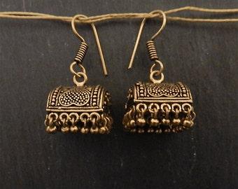 Antique gold village hut earrings gold earrings ethnic gold earrings gold dangly earrings gold boho earrings bohemian jewellery