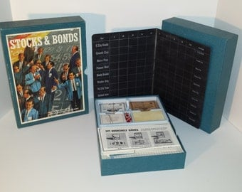1964 Stocks and Bonds board game by 3M | toys kids financial | Wall street | Money Cash | Vintage Bookshelf Game