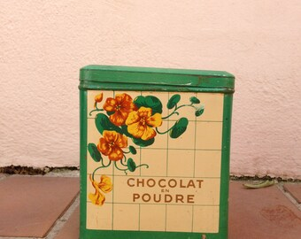 french antique enameled metal canister chocolate vintage