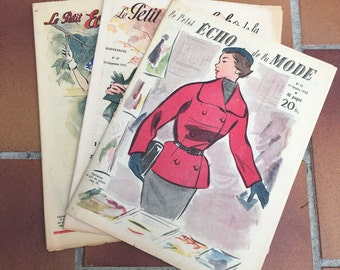 LOT OF 3, 1950 s LE petit echo de la mode, in french, pattern magazines