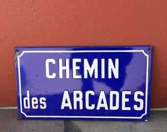 Old French Street Enameled Sign Plaque - vintage arcades