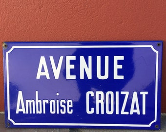 Old French Street Enameled Sign Plaque - vintage croizat 2