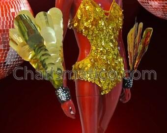 CHARISMATICO Gold Sequin Leotard and Wrist Guards Cabaret Showgirl's Costume Set