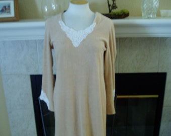 Vintage Light Weight Beige Terry Cloth Cover Up with White