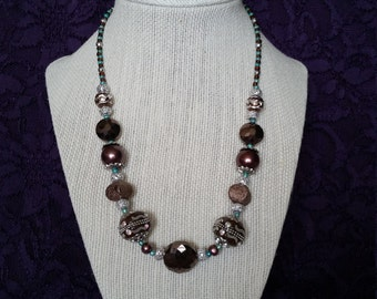 Brown and Aqua Necklace