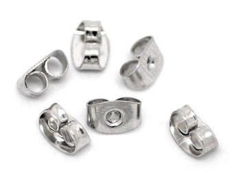 "50 earrings ""screw"" - 6 * 4 mm - silver / A3-0087"