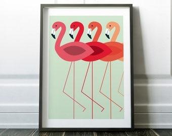 Flamingo Wall Art Prints Minimalist Wall Decor Flamingo Print Minimalist Modern Art Scandinavian Print Wall Prints Minimalist Art Print