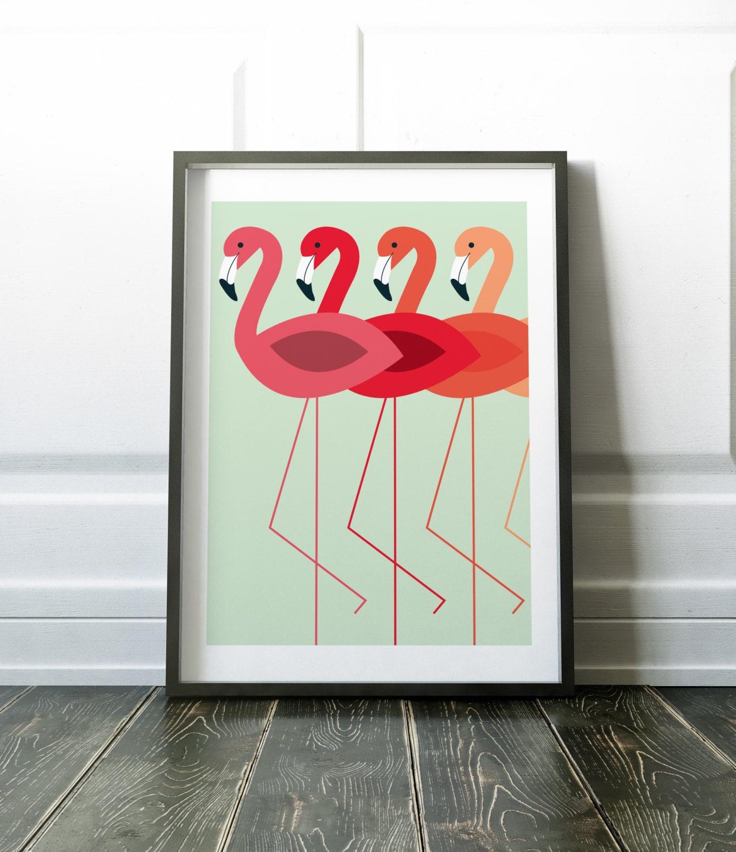 Flamingo wall art prints minimalist wall decor flamingo print for Minimalist wall design