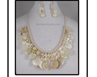 Shabby Chic White Crochet Recycled Vintage Button Necklace and Earring Set