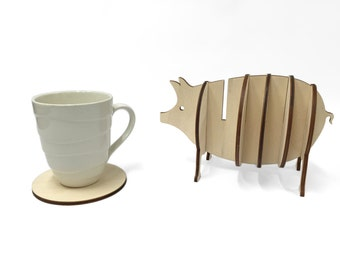Wooden 3d Piglet Coaster Set, Handmade Animal Coasters