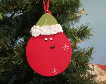 christmas ball in santa hat ornament