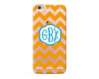 iPhone 7 case clear, iPhone 7 plus case, iPhone 6 case, iPhone 6s Case, iPhone 6 plus case, Personalized Orange Chevron Monogram iPhone Case