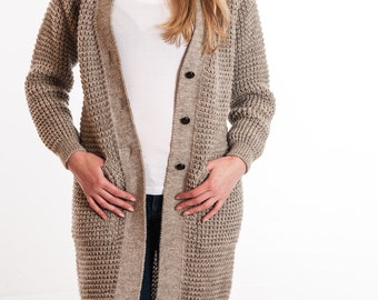 Ladies Long Sleeve Popcorn Stitch Knitted Cardigan