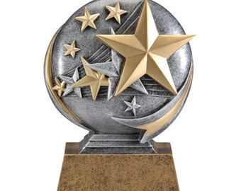 Stars Trophy with 3 lines of custom text