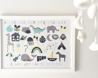 Baby Boy Alphabet Personalised Print
