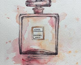 Chanel Perfume Bottle - Watercolour Jess Logue ORIGINAL