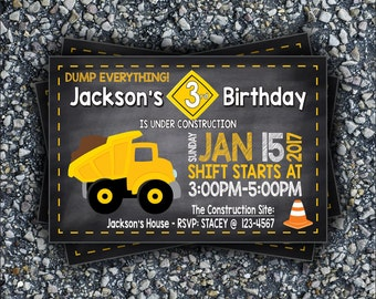 Under Construction Birthday Invitation