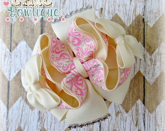 Ivory with pink swirls bow