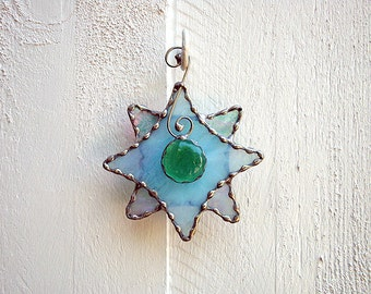 Blue Star Stained Glass Ornament or Suncatcher