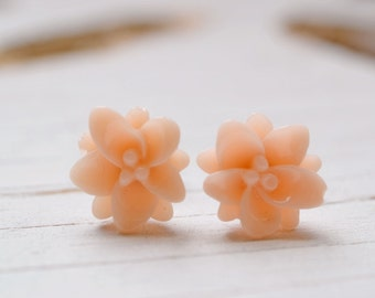 Blush Lotus Earrings, Pale Peach Lotus Flower Studs, Yoga Jewelry, Tropical Apricot Pale Coral Lotus + Bliss